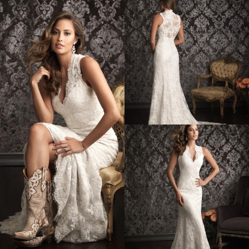 2015 Spanish Lace Wedding Dresses Country Western Vestidos De Novia Sexy Bridal Gowns Sexy V