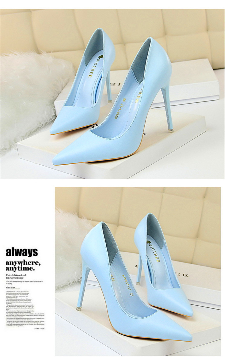 BIGTREE Soft Leather Shallow Fashion Women's High Heels Shoes Candy Colors Pointed Toe Women Pumps Show Thin Female Office Shoe 15