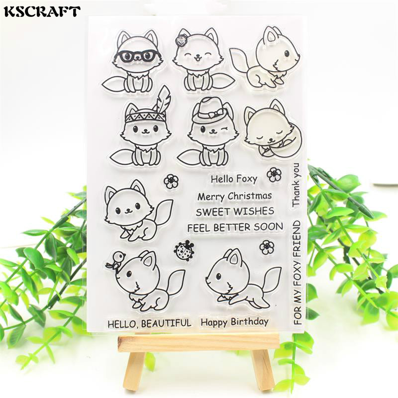 KSCRAFT Cute Fox Transparent Clear Silicone Stamps for DIY Scrapbooking/Card Making/Kids Fun Decoration Supplies Flower kscraft butterfly and insects transparent clear silicone stamps for diy scrapbooking card making kids fun decoration supplies