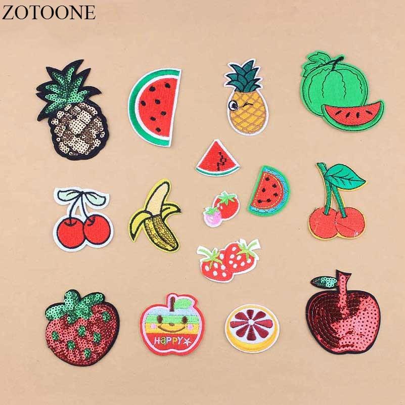 Zotoone patches bordados para apple, 1 pç, faça você mesmo, frutas bordados, aplicativos, lantejoulas de desenho animado, ferro barato, bordados loge a1
