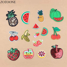 ZOTOONE 1PCS DIY Fruta Maçã Patches Para Vestuário Applicaties Caricatura Paetês Barato Ferro Em Bordados Patches Bordados Loge A1(China)