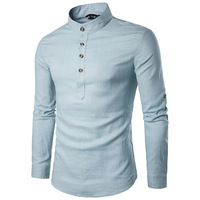 2019 New Vertical Collared Linen Men's Shirts Hemp Mixed Type Men's Casual Shirts Youth Fashion Men's Shirts