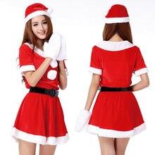 e096ee4e6f 2018 Navidad lindo Santa Claus mujeres vestido rojo femenino Otoño Invierno  partido disfraces Sexy un tamaño vestido de Santa .