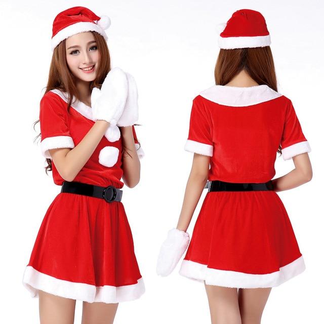 hot sale 1 set sexy women santa claus christmas costume party girls outfit fancy dresses white - White Santa Claus