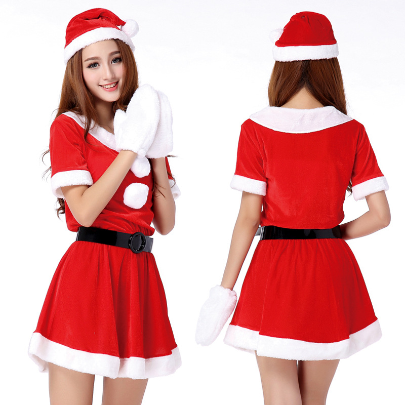 Hot Sale 1 Set Sexy Women Santa Claus Christmas Costume Party Girls Outfit Fancy Dresses White Fluff Gloves Christmas Clothing