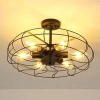 Vintage Industrial Retro led Ceiling Lamp Edison Light E27 Holder Iron Restaurant Bar Attic Bookstore Cage Lamp Ceiling Lights