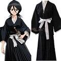 Trajes Cosplay Anime Bleach Kuchiki Rukia Japonês Kendo Traje Frete Grátis (Top + Calça + Cinto)