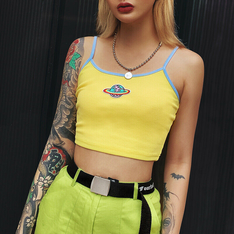 New Hot   Tanks   Summer Women's Printed Vest Yellow Sleeveless Crop   Top   mujer femme Blouse T-shirt gothic Fashion streetwear