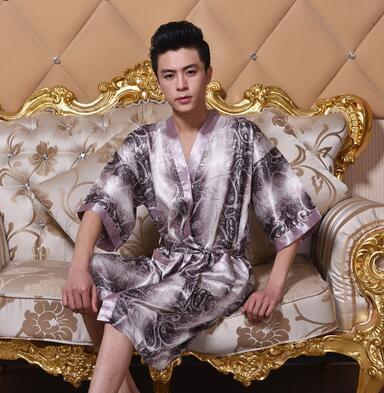 2016 горячая Новое Прибытие Мужская Искусственного Шелка Кимоно Одеяние Ванна платье Китайский Мужчины Длинные Пижамы V-образным Вырезом Печатных Pijamas Плюс Размер XXXL