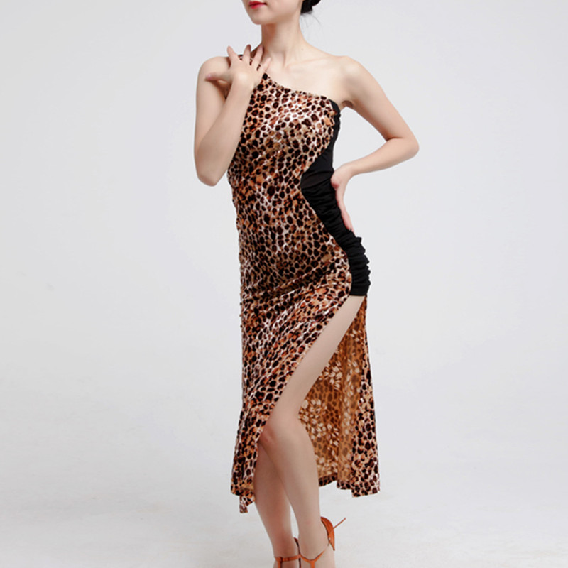 Picture of Beauty Tongtian Hui Hot Cross With Inclined Shoulder Leopard Adult Female Latin Dance Exercise Performance Under 00018