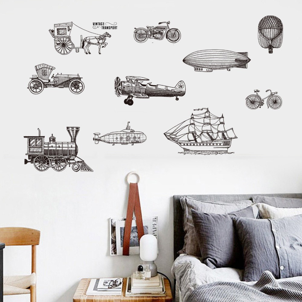 Buy black carriage bike ship vintage - Mens bedroom wall art ...