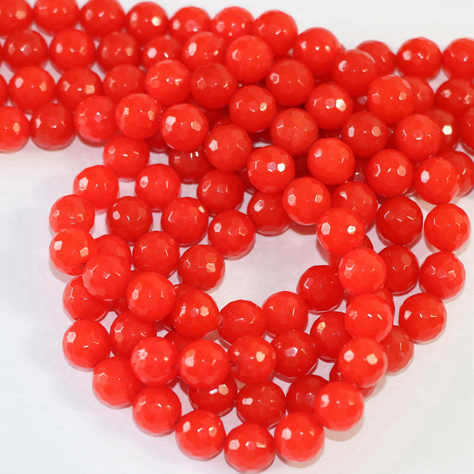 Natural red jades stone chalcedony 4mm 6mm 8mm 10mm 12mm faceted round loose beads semi-precious stone diy jewelry 15inch B10
