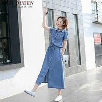 Casual denim dresses women 2018 new arrival summer women jeans dresses 2017 A line long button front dress NN0516 HQ