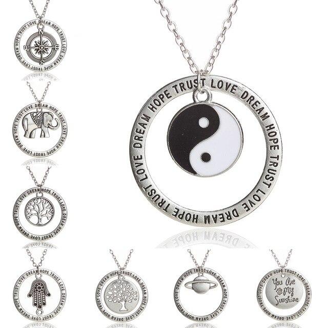 JINSE BLS184 Yin Yang éléphant boussole charme amour rêve espoir confiance mots cercle pendentif à breloque collier meilleurs amis bijoux