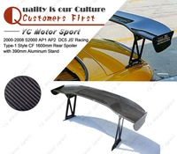 Carbon Fiber 1600mm Rear Spoiler with 390mm Aluminum Stand Fit For 2000 2008 S2000 AP1 AP2 DC5 JS Racing Type 1 Style Rear Wing