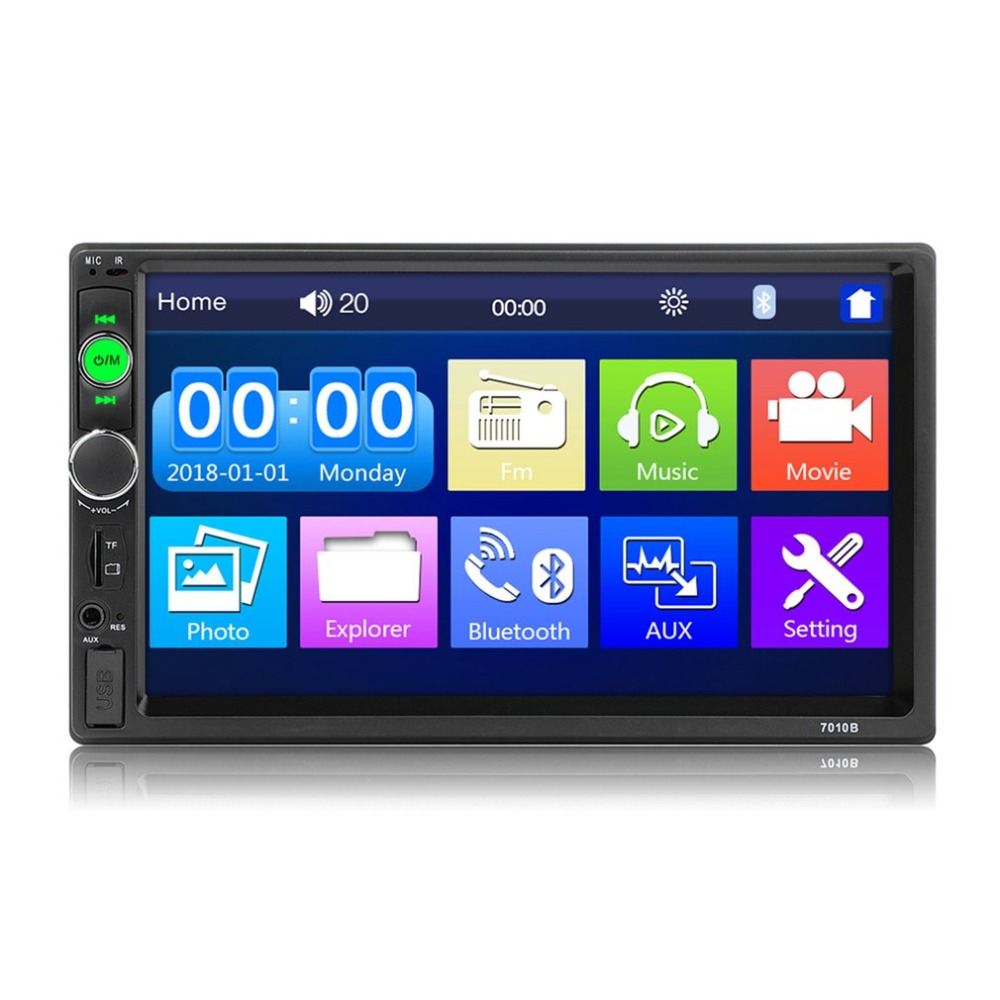 7010B 7 Double Din Touch Screen Car Audio Stereo Receiver MP5 Player FM Radio Bluetooth with Camera Support MP3/WMA/WAV топорик кухонный samura mo v 180мм