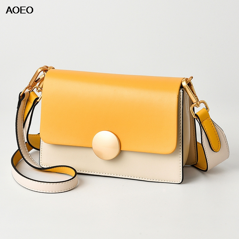 AOEO Fashion Shoulder Messenger Bags For Women Summer Candy Color Split Leather Roud Metal Girls Small