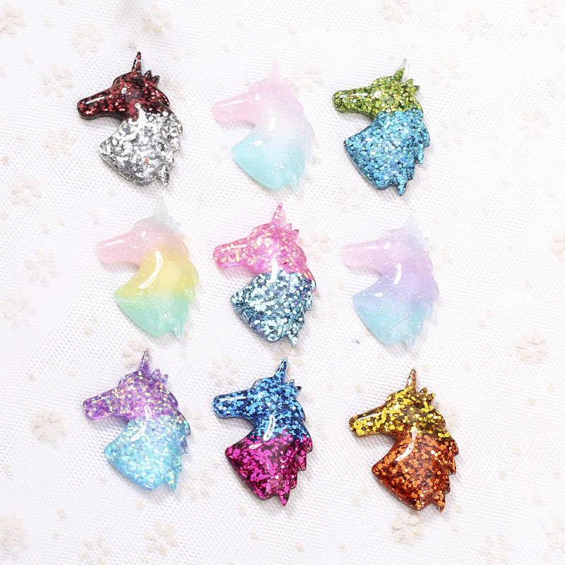 40*42mm 15pcs colorful unicorn charms necklace pendant flatback resin keychain charms for DIY jewelry decoration