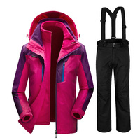 Русской зимы 35 градусов лыжный костюм женский сноуборд костюмы Водонепроницаемый Супер Теплая Лыжная куртка + штаны для Для женщин открыты