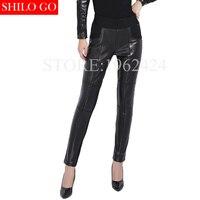 2017 otoño invierno moda mujeres de alta calidad sexy botas de cuero de piel de oveja sección delgada cintura elástica de cintura alta lápiz pantalón 3XL