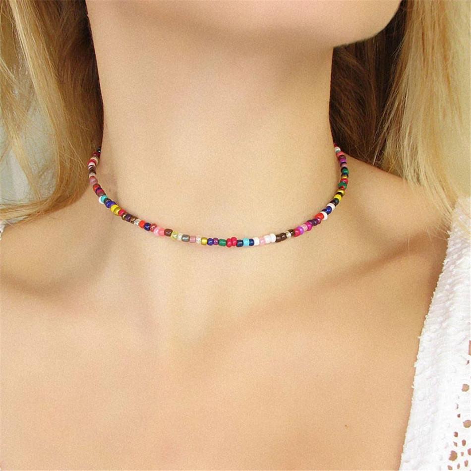 Rainbow Colored Beaded Choker Fashionable Necklace