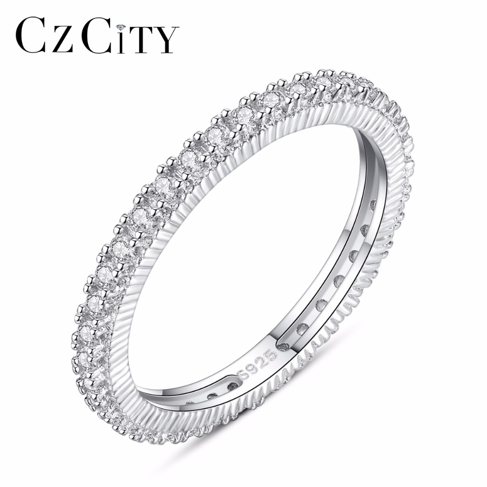 CZCITY Brands 925 Sterling Silver Stackable Rings For Women White Cubic Zirconia  Micro Paved Ring Valentine's Day Gift Jewelry