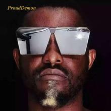 Fashion Brand Designer Square Flat lens Sun Glasses Mirror Women Sunglasses Men Hip Hop Oversized Lady Eyeglasses Male FDA UV400