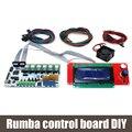 Rumba biqu placa de controle diy cooler fan + + placa de controle do display lcd 2004 controlador + jumper fio rumba kits para reprap 3d printer