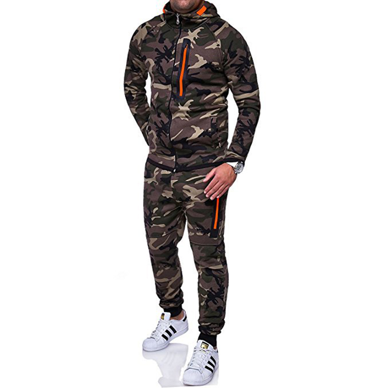Men's Suits Hoodies and Pants Sets Young Men Fashion Camouflage Hooded Coat and Sweatpants Casual Sweatshirts Trousers MY052
