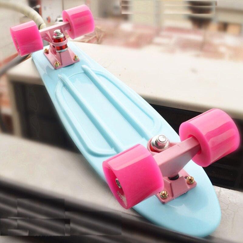 Pastel Mini Cruiser 22 pouce Roulettes 22 Planche À Roulettes Rétro Longboard Complet Led Lumière Clignotant pour Fille Garçon