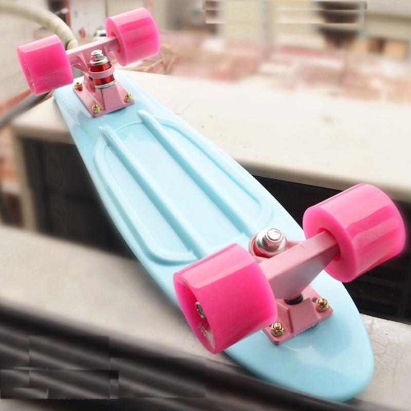 """Pastel Mini Cruiser 22 pouces planche à roulettes 22 """"planche à roulettes rétro Longboard complet lumière LED clignotant pour fille garçon"""