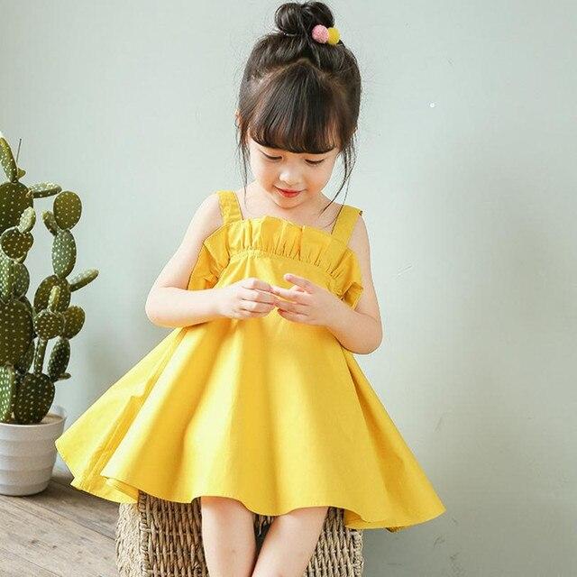 d9cd739c3c31 DFXD Toddler Girls Clothing Kids Summer Dress 2018 New Soild Pink Yellow  Sleeveless Strap Birthday Party Dress Baby Beach Dress