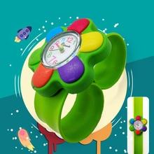 2019 New Fashion Unique Style Cartoon Flower Watch Children Silicone Kids Watch Quartz WristWatch Slap Cute Baby Gift hot Sale