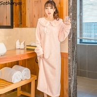 Nightgowns Women Long High Quality Kawaii Polka Dot Trendy Warm Flannel Womens Nightshirt Loose Casual New Ladies Sleepwear Chic