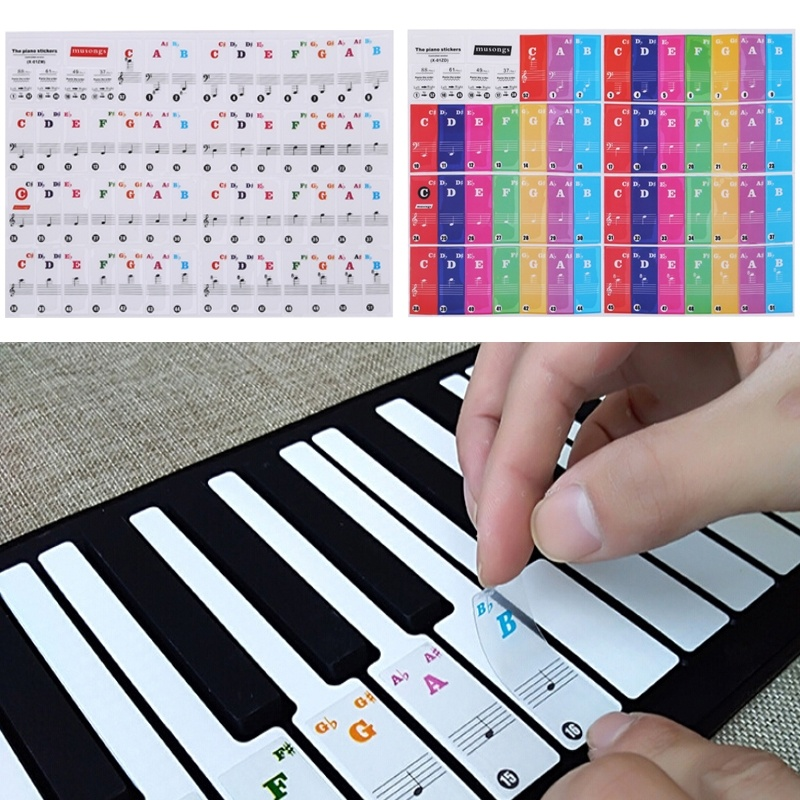 Transparent Cute Piano KeyBoard Sticker Piano Stave Note Sticker For 61/88 Key Electronic Pianos
