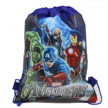 6Pcs Advengers Decorative Cartoon Kids Drawstring Backpack Shopping School Traveling Party gift Bags Birthday Gifts(China)