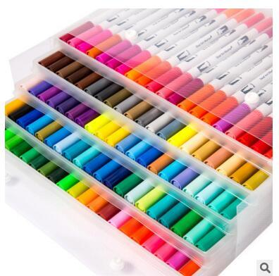 100 72 marcadores de cor premium conjunto caneta aquarela pintura escova macia caligrafia caneta efeito