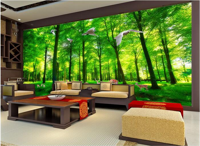 3d ruang wallpaper kustom mural non woven wall sticker 3d hijau