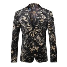 High-grade Fabrics Blazer Men Floral Casual Slim Blazers 2016 New Arrival Fashion Party Single Breasted Men Suit Jacket