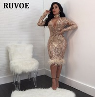 Sequins Feathered Deep V Neck Dresses Women Sexy Halter Long Sleeve Sheath Dress Midi Casual Bodycon Dress Red Blue Nude White