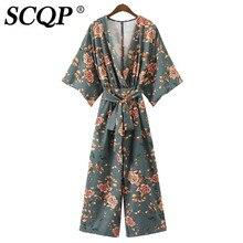 SCQP Sexy Глубокий V шеи с Женщины повязки кимоно комбинезон на завязках Свободные Комбинезоны и комбинезоны Песочники женские комбинезон