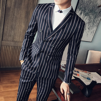 2017 Mens Stripe Suits Twinset Double Breasted Suits Mens Ternos Slim Fit Smoking Masculino Party Mens Suits Blazer With Pants