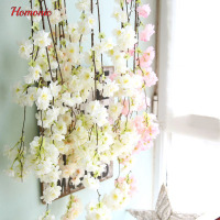 1PC Artificial Fake Flowers Leaf Cherry Blossoms Floral Wedding Bouquet Party Decor Sakura Floral 2017 Drop