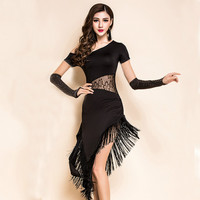 Women Black Sexy Latin Dance Dress Ladies Tassel Competition Ballroom Dance Dresses Tango / Rumba/ Salsa Dance Wear Outfit 90