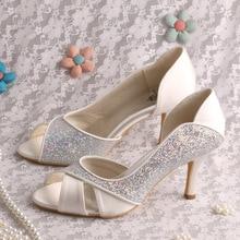 Wedopus Вырезы Пятки Женская Обувь с Блеском и Атласная Highheel Обувь На Заказ Ручной Работы