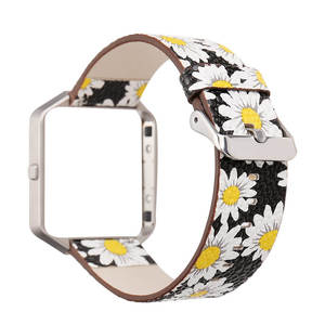 Image 5 - DAHASE Floral Leather Watchband 23mm Flower Strap Replacement Watch Strap For Fitbit Blaze Band w Colorful Metal Frame
