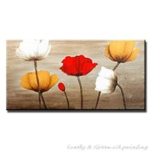 Hand-painted Modern Wall Art Picture For Wedding Bedroom Home Decor Abstract Red Yellow White Flower Oil Painting On Canvas(China)