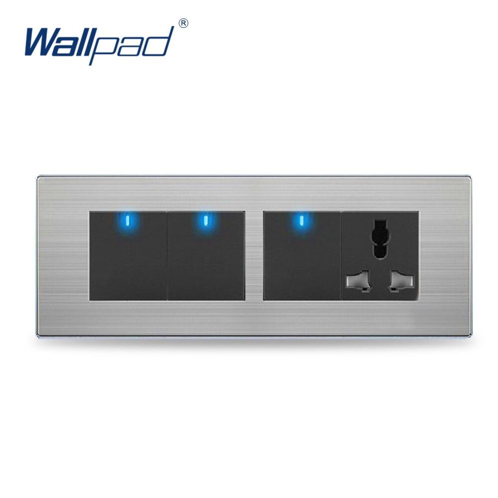 3 Gang 3 Pin Universal Socket Hot Sale China Manufacturer Wallpad One-side Click Led Indicator Luxury Wall Light Switch