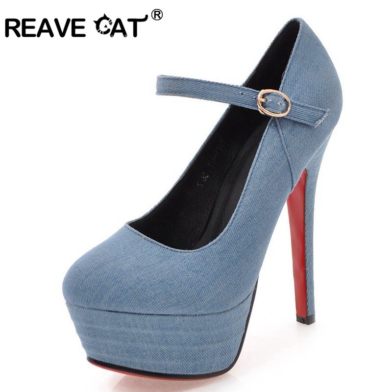 REAVE CAT New Brand Large size 34 43 Customized Denim Round toe Woman shoes bukcle Women