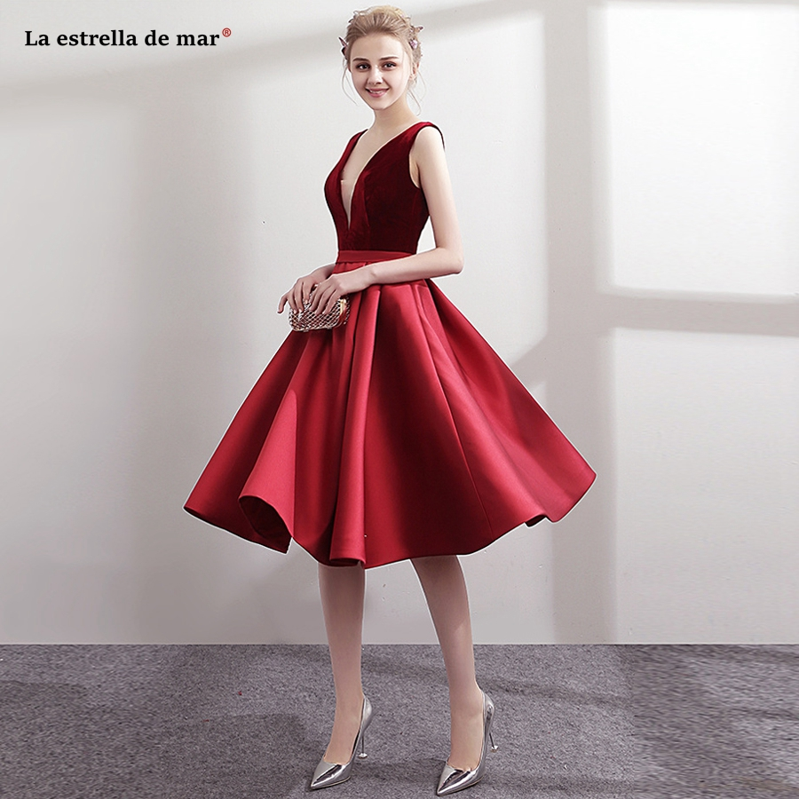 Vestido coctel2018 new sexy V neck velvet satin a line Tea Length burgundy   cocktail     dresses   elegant formal robe de   cocktail